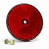 Reflektor, rot, rund, Durchmesser 60 mm, mit Loch, E-geprüft.